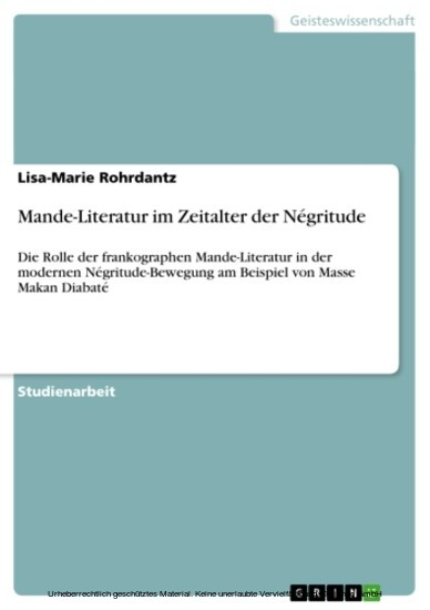 Mande-Literatur im Zeitalter der Négritude - Blick ins Buch