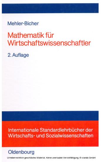 Mathematik für Wirtschaftswissenschaftler - Blick ins Buch