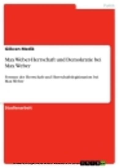 Max Weber-Herrschaft und Demokratie bei Max Weber - Blick ins Buch