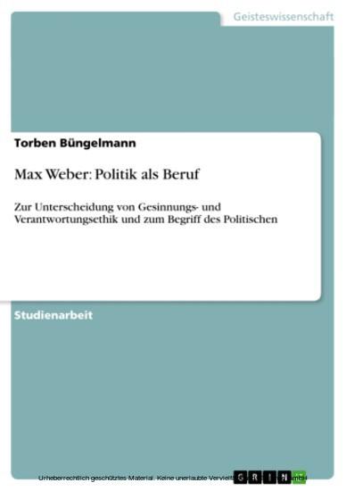 Max Weber: Politik als Beruf - Blick ins Buch