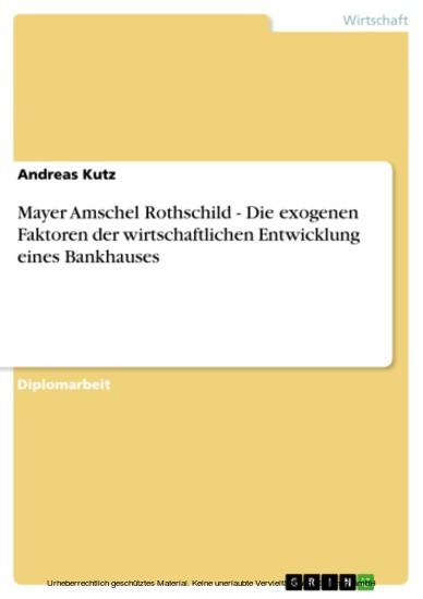 Mayer Amschel Rothschild - Die exogenen Faktoren der wirtschaftlichen Entwicklung eines Bankhauses - Blick ins Buch