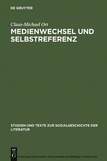 Medienwechsel und Selbstreferenz - Blick ins Buch