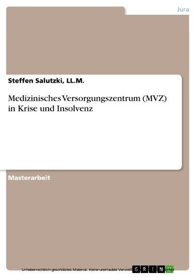 Medizinisches Versorgungszentrum (MVZ) in Krise und Insolvenz - Blick ins Buch