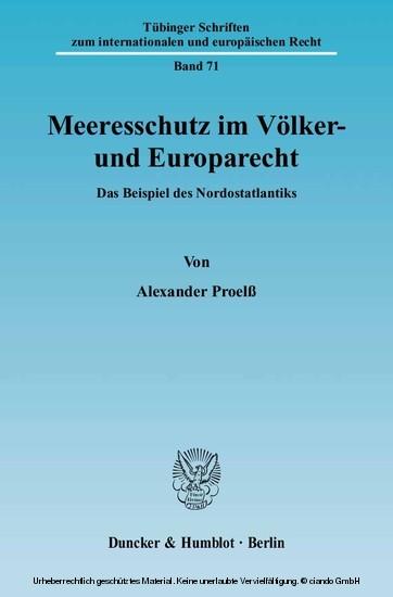 Meeresschutz im Völker- und Europarecht. - Blick ins Buch