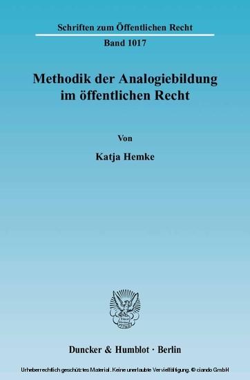 Methodik der Analogiebildung im öffentlichen Recht. - Blick ins Buch