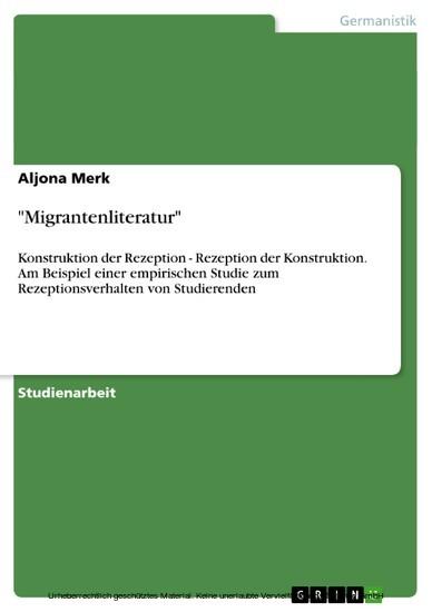 'Migrantenliteratur' - Blick ins Buch