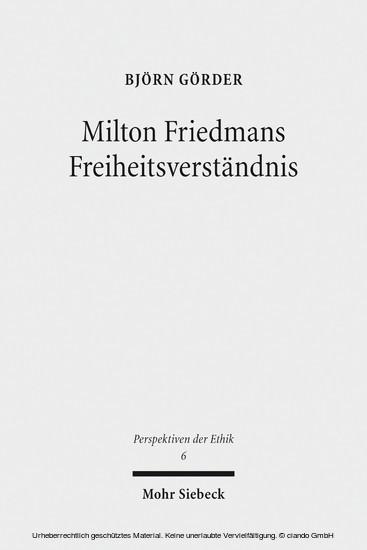 Milton Friedmans Freiheitsverständnis - Blick ins Buch