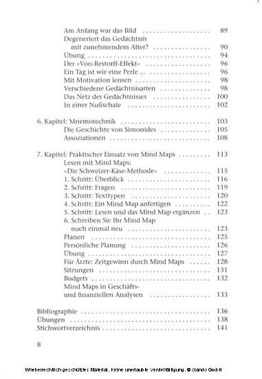 Mind Mapping und Gedächtsnistraining - Blick ins Buch