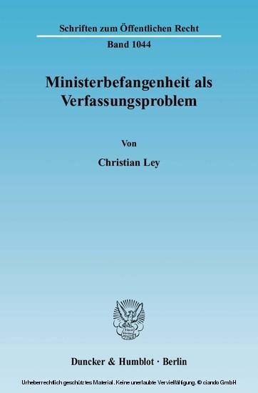 Ministerbefangenheit als Verfassungsproblem. - Blick ins Buch