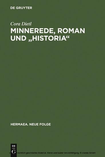 Minnerede, Roman und 'historia' - Blick ins Buch