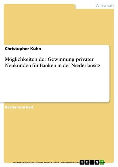 Möglichkeiten der Gewinnung privater Neukunden für Banken in der Niederlausitz - Blick ins Buch