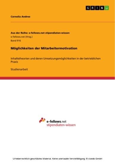 Möglichkeiten der Mitarbeitermotivation - Blick ins Buch
