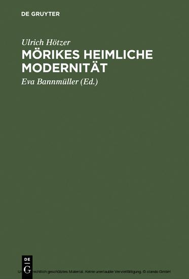 Mörikes heimliche Modernität - Blick ins Buch