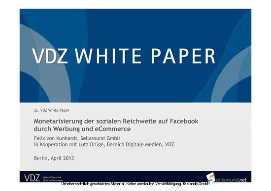 Monetarisierung der Sozialen Reichweite auf Facebook durch Werbung und eCommerce - Blick ins Buch