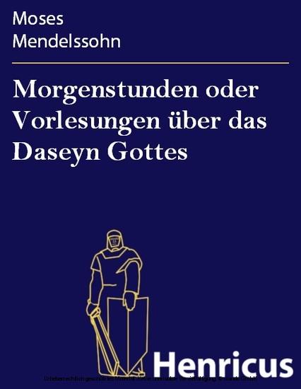 Morgenstunden oder Vorlesungen über das Daseyn Gottes - Blick ins Buch