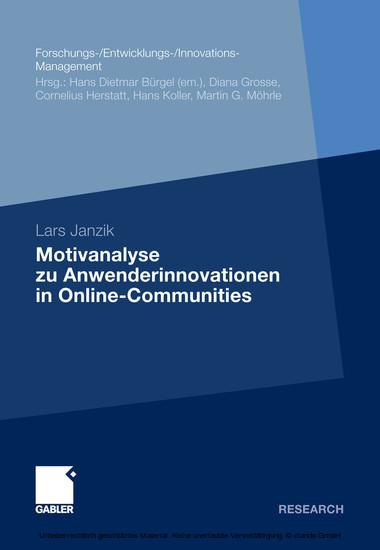 Motivanalyse zu Anwenderinnovationen in Online-Communities - Blick ins Buch