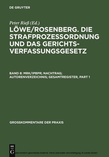 MRK/IPBPR; Nachtrag; Autorenverzeichnis; Gesamtregister - Blick ins Buch