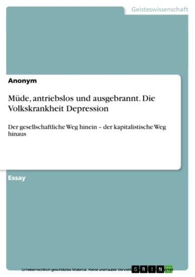 Müde, antriebslos und ausgebrannt. Die Volkskrankheit Depression - Blick ins Buch