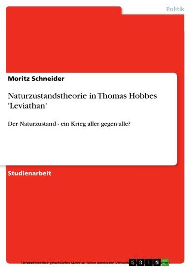 Naturzustandstheorie in Thomas Hobbes 'Leviathan' - Blick ins Buch