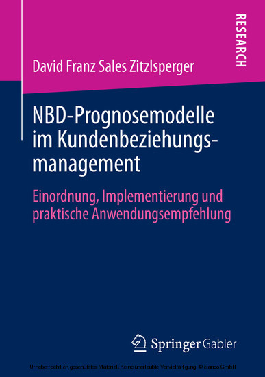 NBD-Prognosemodelle im Kundenbeziehungsmanagement - Blick ins Buch
