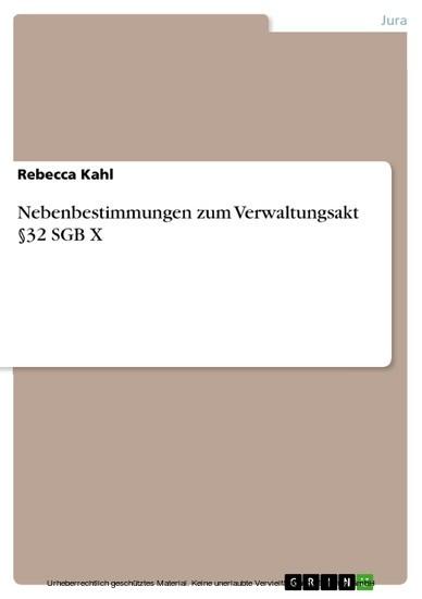 Nebenbestimmungen zum Verwaltungsakt §32 SGB X - Blick ins Buch