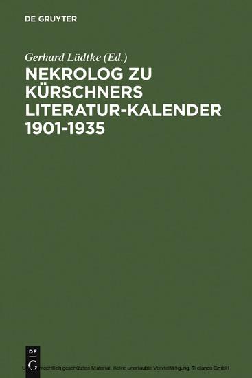 Nekrolog zu Kürschners Literatur-Kalender 1901-1935 - Blick ins Buch