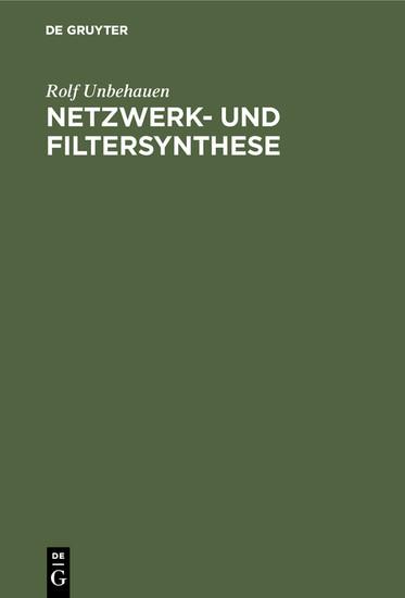 Netzwerk- und Filtersynthese - Blick ins Buch