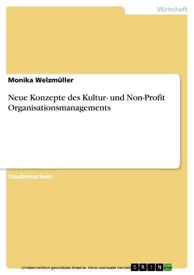 Neue Konzepte des Kultur- und Non-Profit Organisationsmanagements - Blick ins Buch