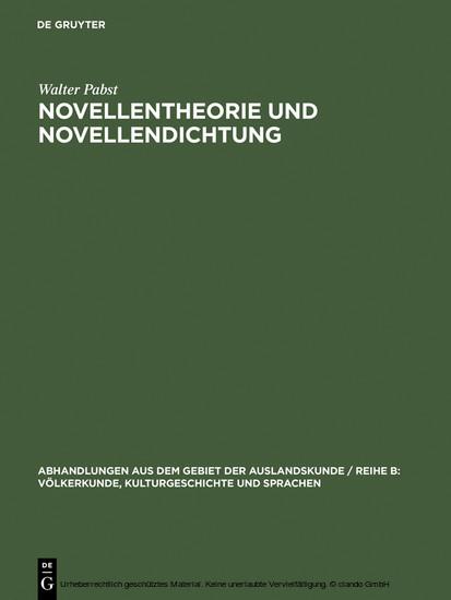 Novellentheorie und Novellendichtung - Blick ins Buch