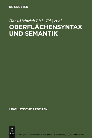 Oberflächensyntax und Semantik - Blick ins Buch
