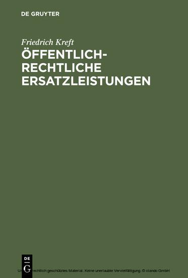 Öffentlich-rechtliche Ersatzleistungen - Blick ins Buch