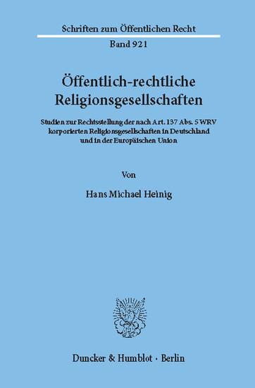 Öffentlich-rechtliche Religionsgesellschaften. - Blick ins Buch