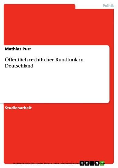 Öffentlich-rechtlicher Rundfunk in Deutschland - Blick ins Buch