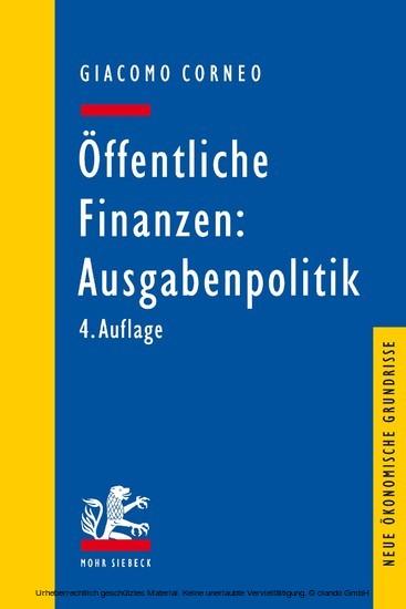 Öffentliche Finanzen: Ausgabenpolitik - Blick ins Buch