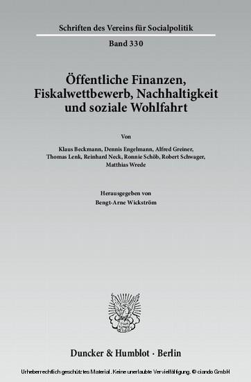 Öffentliche Finanzen, Fiskalwettbewerb, Nachhaltigkeit und soziale Wohlfahrt. - Blick ins Buch