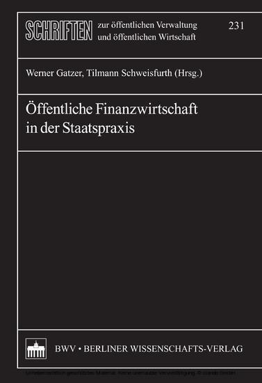 Öffentliche Finanzwirtschaft in der Staatspraxis - Blick ins Buch