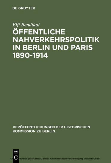 Öffentliche Nahverkehrspolitik in Berlin und Paris 1890-1914 - Blick ins Buch