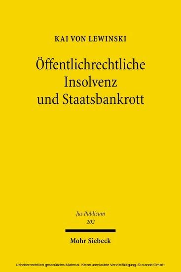 Öffentlichrechtliche Insolvenz und Staatsbankrott - Blick ins Buch