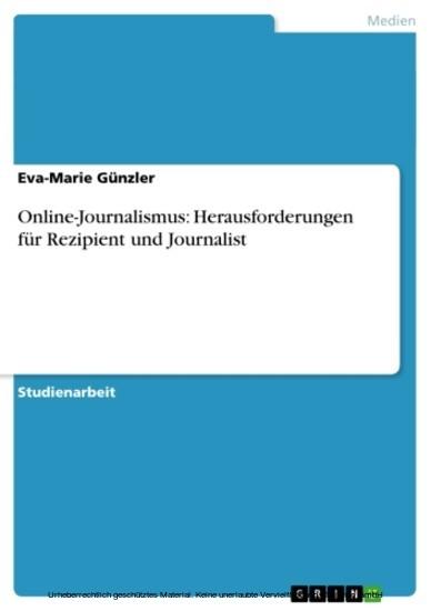 Online-Journalismus: Herausforderungen für Rezipient und Journalist - Blick ins Buch