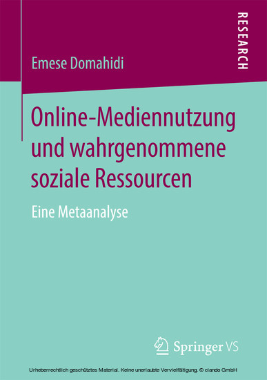 Online-Mediennutzung und wahrgenommene soziale Ressourcen - Blick ins Buch