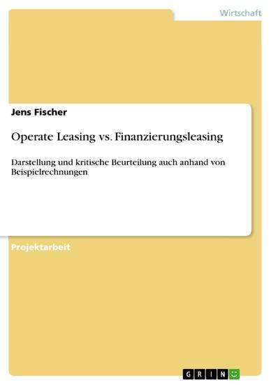 Operate Leasing vs. Finanzierungsleasing - Blick ins Buch