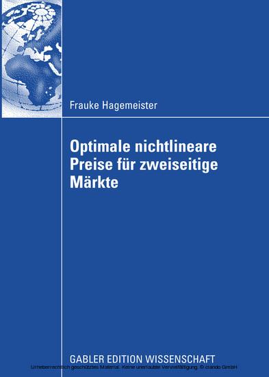 Optimale nichtlineare Preise für zweiseitige Märkte - Blick ins Buch