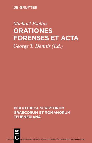 Orationes forenses et acta - Blick ins Buch