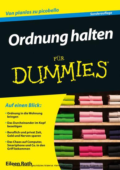 Ordnung halten für Dummies - Blick ins Buch