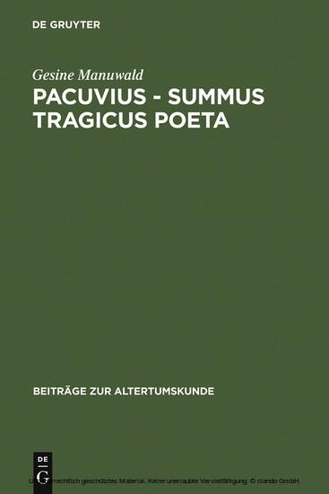 Pacuvius - summus tragicus poeta - Blick ins Buch