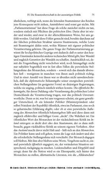 Parlament und Regierung im neugeordneten Deutschland. Zur politischen Kritik des Beamtentums und Parteiwesens - Blick ins Buch