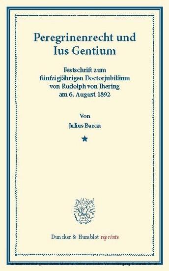 Peregrinenrecht und Ius Gentium. - Blick ins Buch