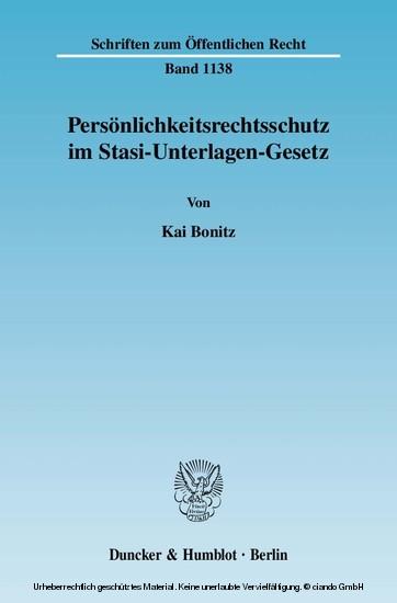 Persönlichkeitsrechtsschutz im Stasi-Unterlagen-Gesetz. - Blick ins Buch
