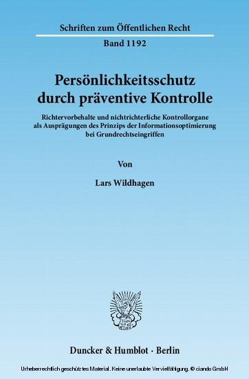 Persönlichkeitsschutz durch präventive Kontrolle. - Blick ins Buch