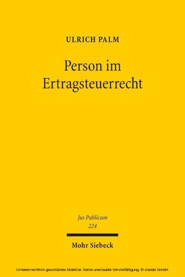 Person im Ertragsteuerrecht - Blick ins Buch